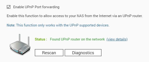 ภาพการตั้งค่า Enable UPnP Port forwarding บน QNAP NAS