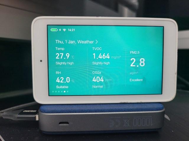 อุปกรณ์วัดอุณหภูมิ ความชื้น และค่า PM2.5 แสดงค่าอุณหภูมิห้อง 27.9 องศา