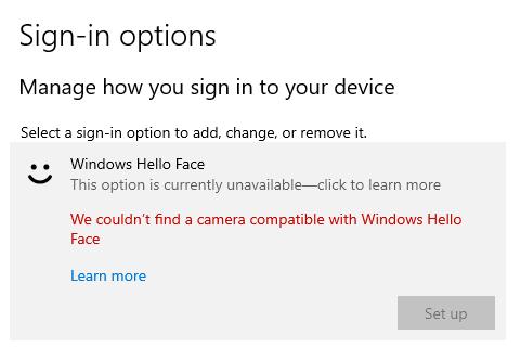 ข้อความแจ้งเตือนจากหน้าจอ Sign-in options ในส่วนการตั้งค่า Windows Hello Face ว่าไม่พบกล้องที่สนับสนุนฟีเจอร์นี้