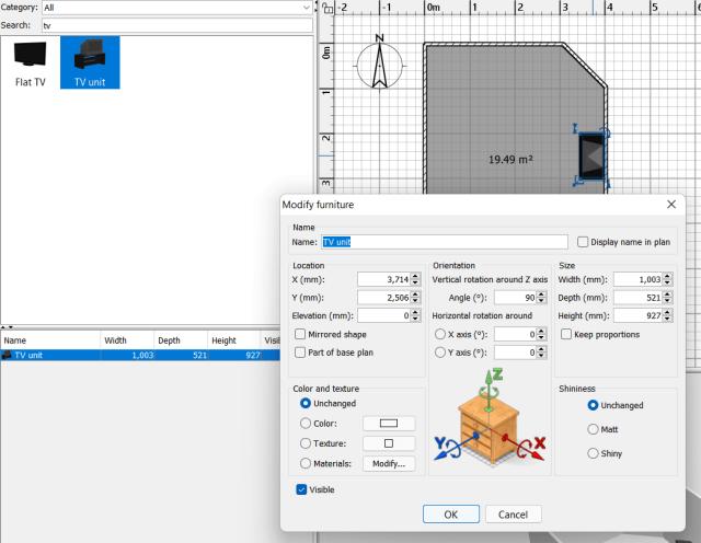 หน้าจอโปรแกรม Sweet Home 3D ในส่วนการตั้งค่าเฟอร์นิเจอร์