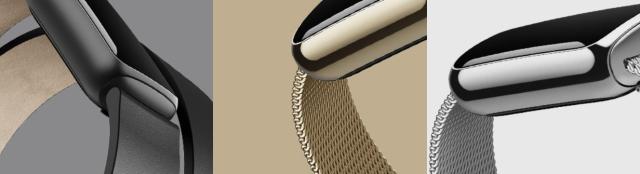 สายพิเศษของ Fitbit Lux ทั้งสามแบบ ได้แก่ สายหนังสีดำ สายโลหะถักสีทองและเงิน