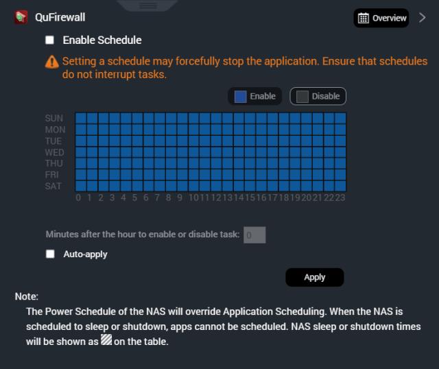 หน้าจอ Schedule การเปิดปิดใช้งานแอปของ Qboost