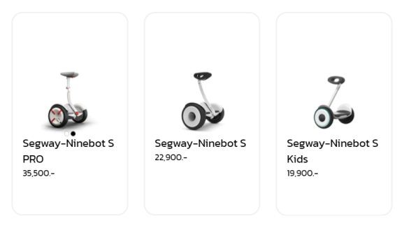 ราคา Ninebot S series รุ่นต่างๆ จากเว็บ MONOWHEEL