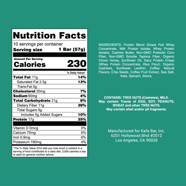 Kafa Bar Nutrition Label