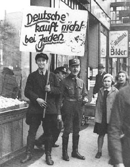 Boycott pickets outside No. 79 Grindelallee, 1st April1933.