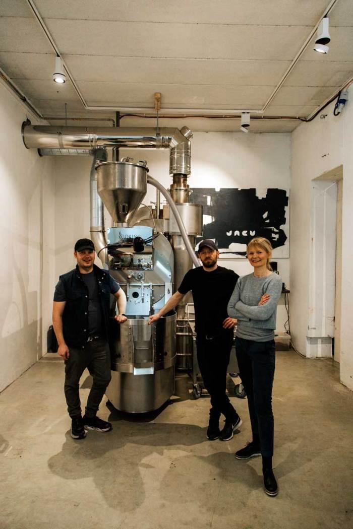 Bilde av ansatte ved Jack kaffebrenneri