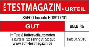 Saeco_Incanto_HD8917_Test_ETM_Testergebnis