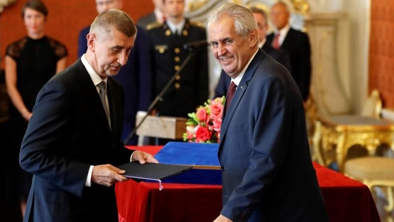 Andrej Babis and Milos Zeman at the Prague Castle