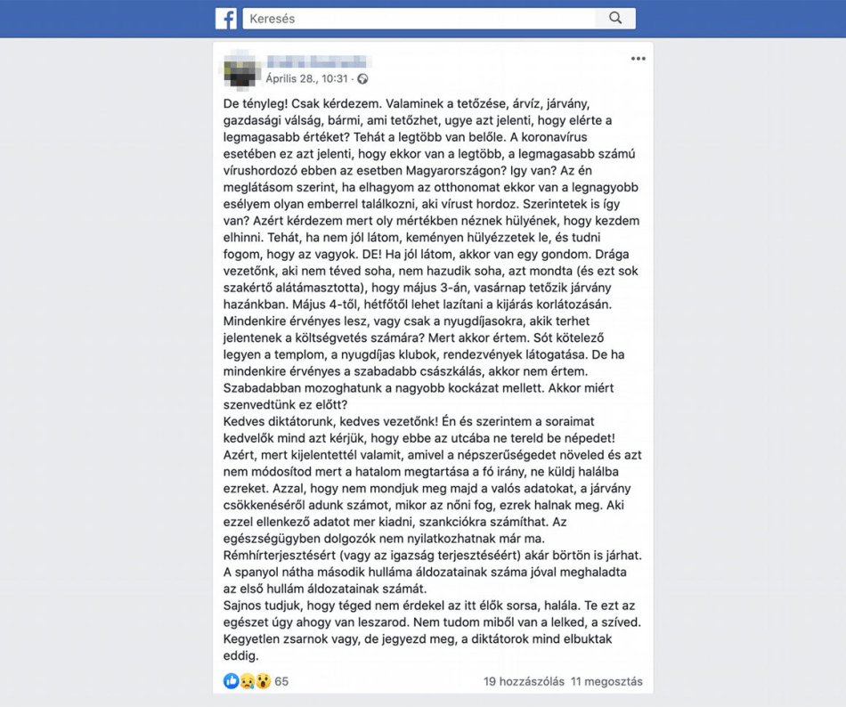 Hungary-Facebook-post-coronavirus