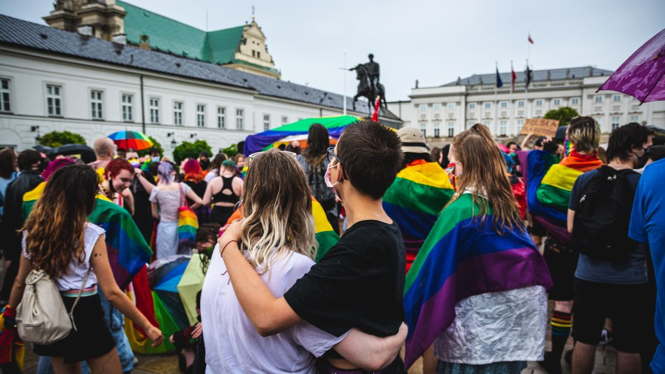 LGBT activists in front of the Presidential Palace in Warsaw, Poland