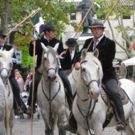 Camargue riders in traditional costume.