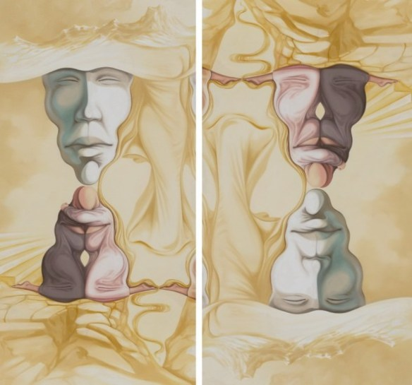 """""""Optical Illusion,"""" painting by Ghita Iustinian at just-in-art.com  http://just-in-art.com/shop/bipolarity/"""