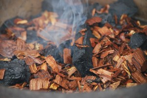 Wood chips on coal. Source:  My Story in Recipes blogspot. (Website link embedded within.)