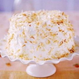 Angel Food cake with coconut. Source: recipes.com