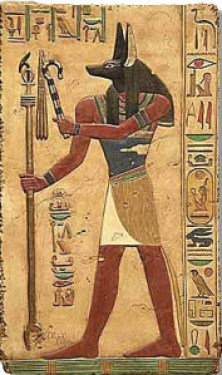 Anubis, God of the Dead, Embalming, and After-Life. . Wall relief from a tomb painting in the Temple of Abydos, Egypt, Dynasty XIX, 1317 B.C. Source: talariaenterprises.com