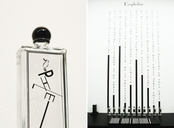 "L'Orpheline special edition 'Lettrines"" bottle, available now at Palais Royal Serge Lutens, and starting from October in all of Lutens' points of sale. Source: http://grey-magazine.com/l-orpheline"