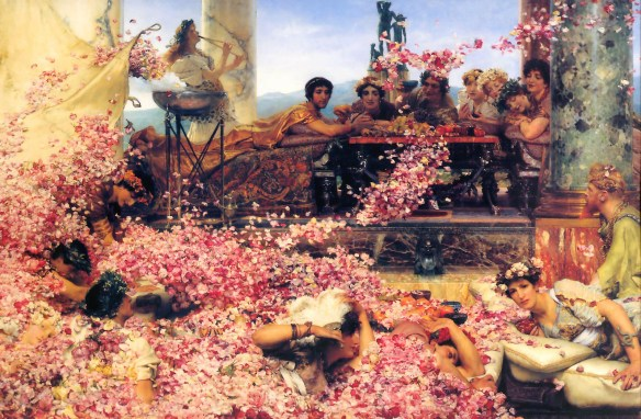 """""""The Roses of Heliogabalus"""" (1888), by Sir Lawrence Alma-Tadema. Source: Wikipedia.com"""