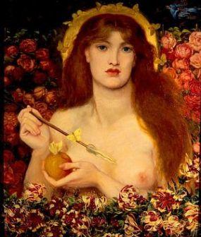 """""""Venus Verticordia"""" by Dante Gabriel Rossetti, circa 1864. Source: rossettiarchive.org"""
