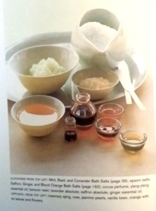 "Essences, oils, and bath salts from the ""Aroma"" book. Photo: my own."