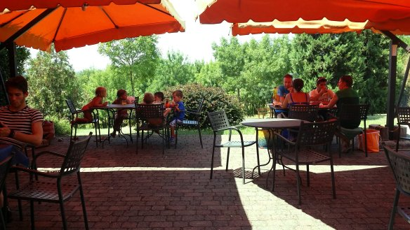 Part of the outdoor patio where we had breakfast, lunch and some take-out or delivery dinners. Photo: my own.
