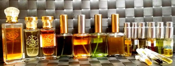 Bottles of the more than 15 perfumes I made. Photo: my own.