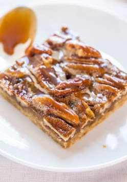 Salted caramel pecan nut pie bars. Photo: Averie at AverieCooks.com (Direct link to recipe and website embedded within.)
