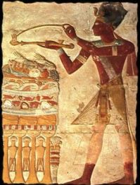 Either the god Seti or Pharaoh Ramses II burning incense. Accounts vary. Source: Pinterest.