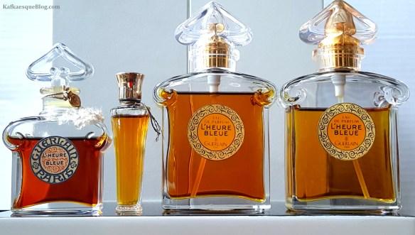 L'Heure Bleue, vintage parfum and eau de parfum. Photo & bottles: my own.
