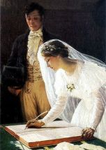 "One portion of ""The Wedding Book,"" Edmund Blair Leighton ( 1853-1922 ). Source: Pinterest."