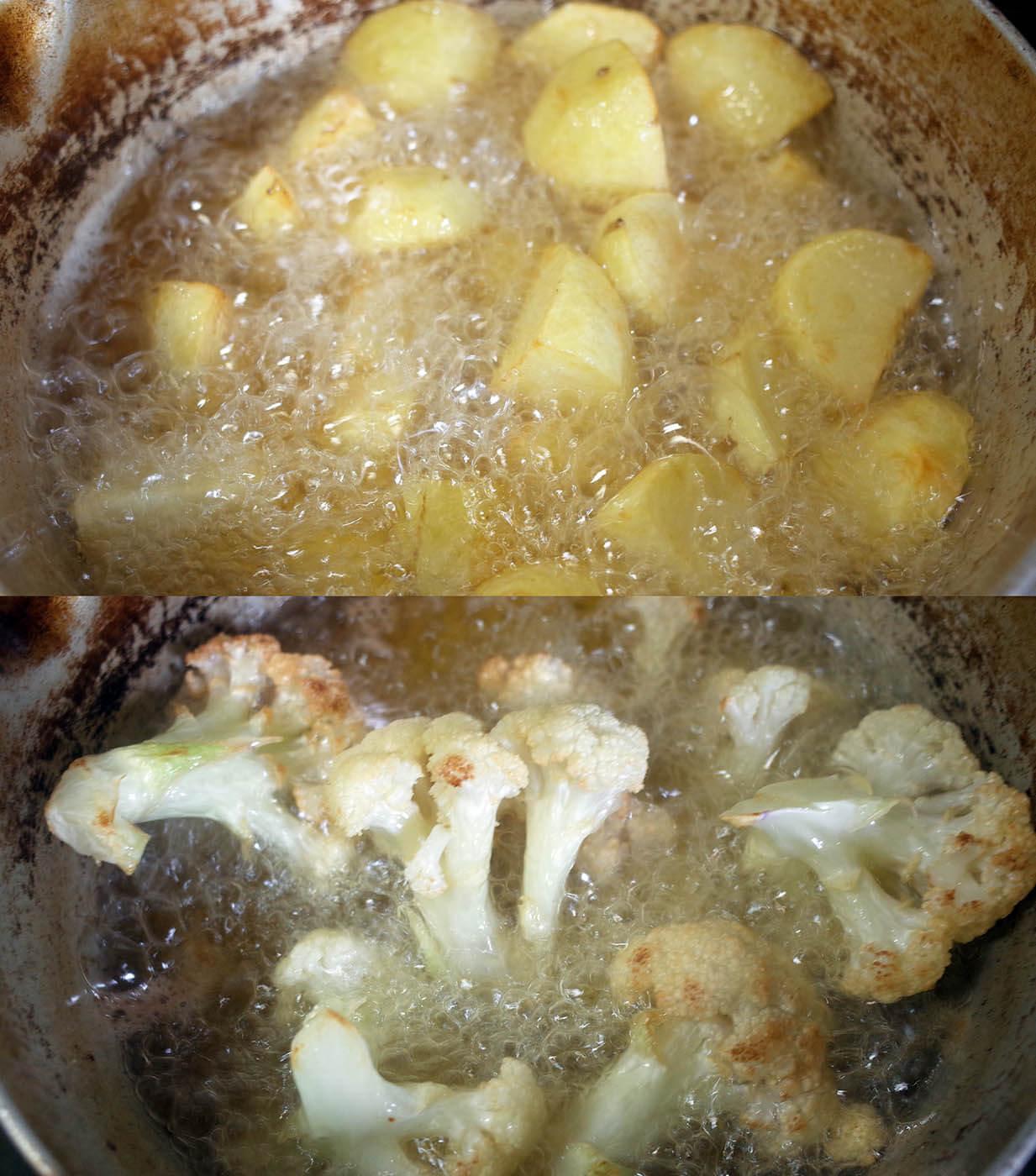 アルゴビの下準備でジャガイモとカリフラワーの素揚げ