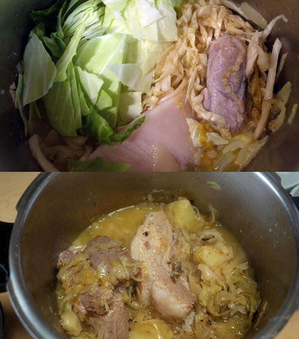 自家製発酵キャベツと豚肉の煮込み