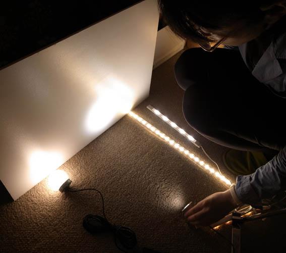 LED照明実験中