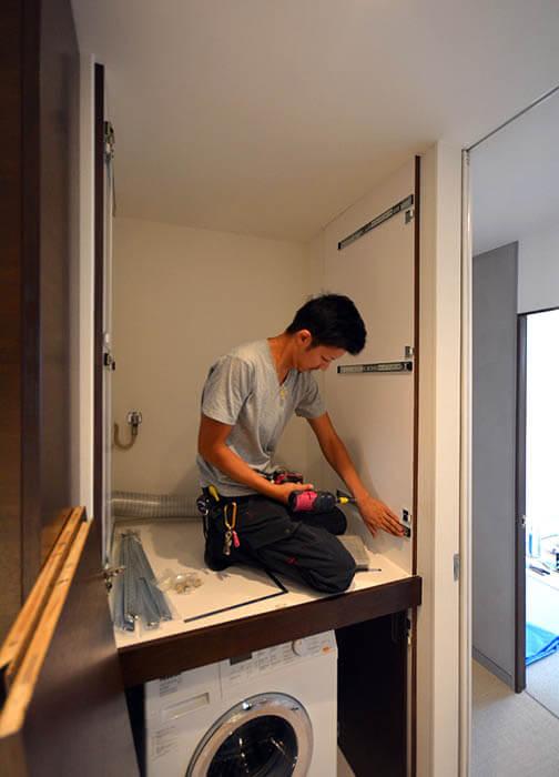 2段組の乾燥機設置棚