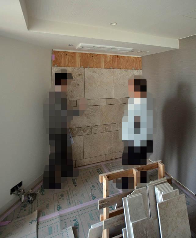 大理石張り壁の目地チェック@元麻布A邸リフォーム