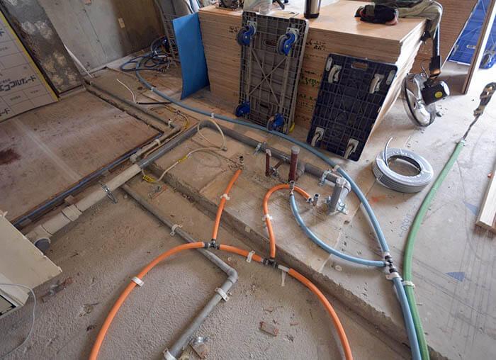ビンテージマンションリフォームの床配管