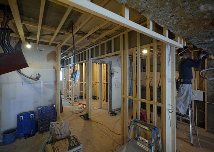 玄関キッチン回りの壁天井下地
