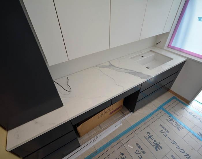 洗面造作家具設置@高級マンションリフォーム