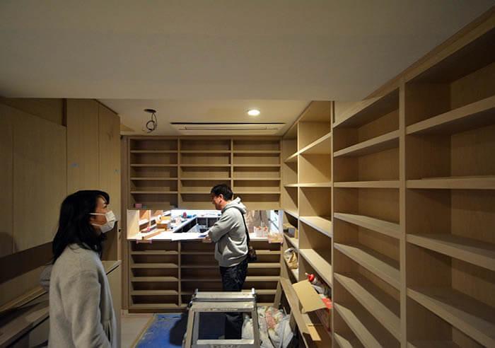 造作書庫の組立て
