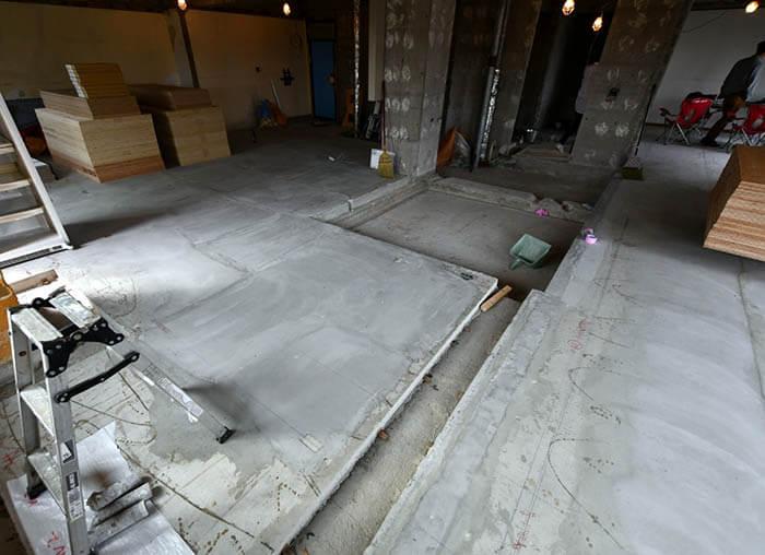 床コンクリートのレベル補修