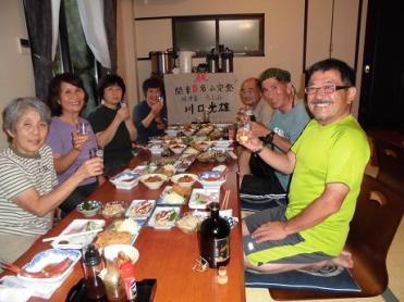 旅館にて関東百名山完登祝賀会