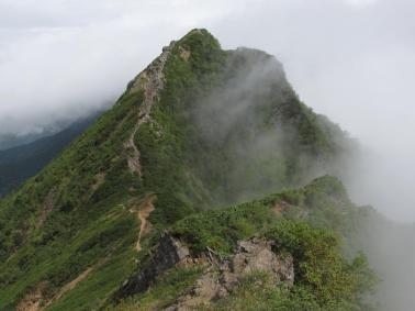権現岳からのキレット
