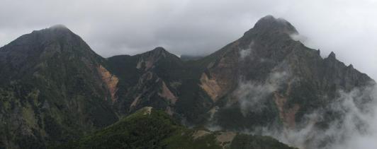 赤岳、阿弥陀岳の全容