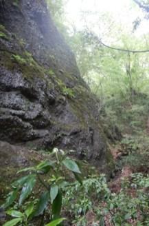 狭深沢の岩壁への登り返し