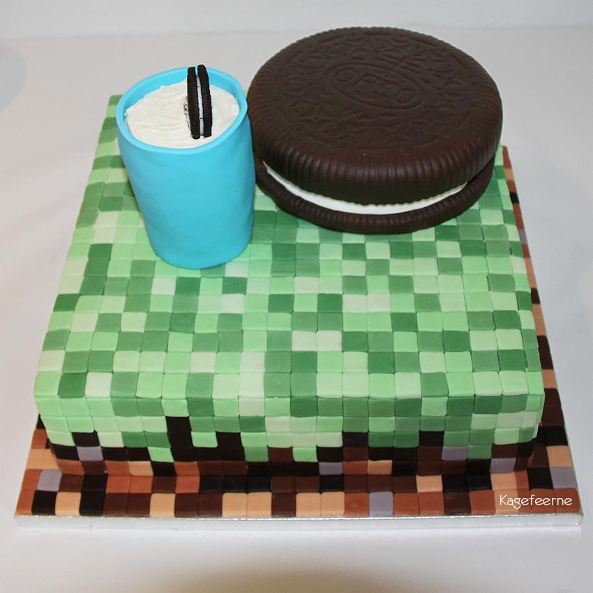 Oreo og Minecraft kage