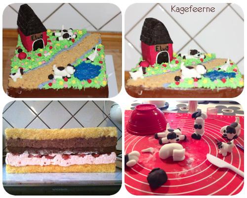Collage af kage med vores hund Elvis, fra opbygning til færdigt resultat