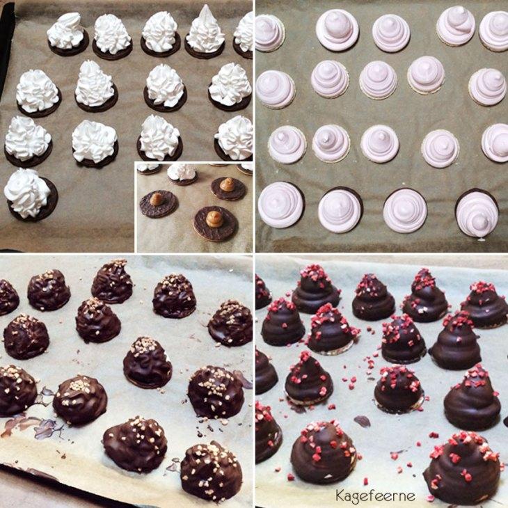 Flødebollerne som de ser ud før og efter de er overtrukket med chokolade. Minibilled af karamel surprise