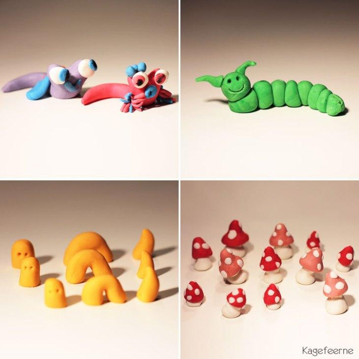 Fondantfigurer af snegle, orme og paddehatte