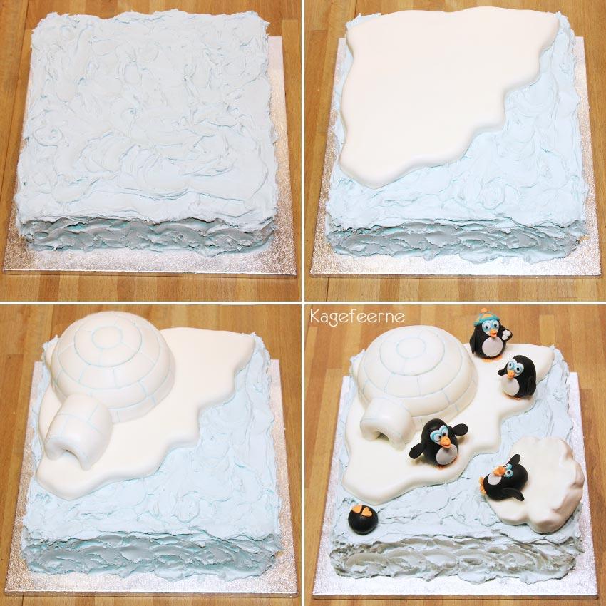 Pingvin og iglo kage under opbygning med smørcreme og fondant