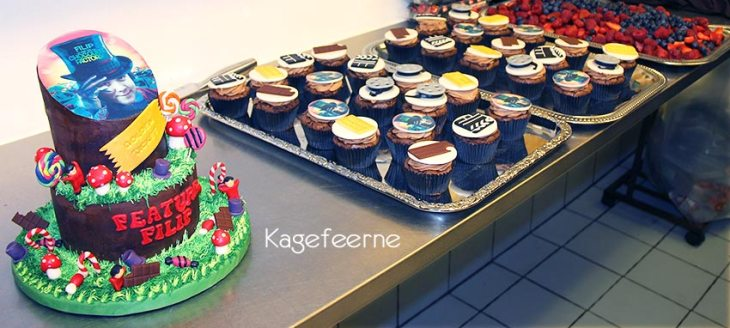 Film tema cupcakes. Charlie and the Chocolate factory cake.