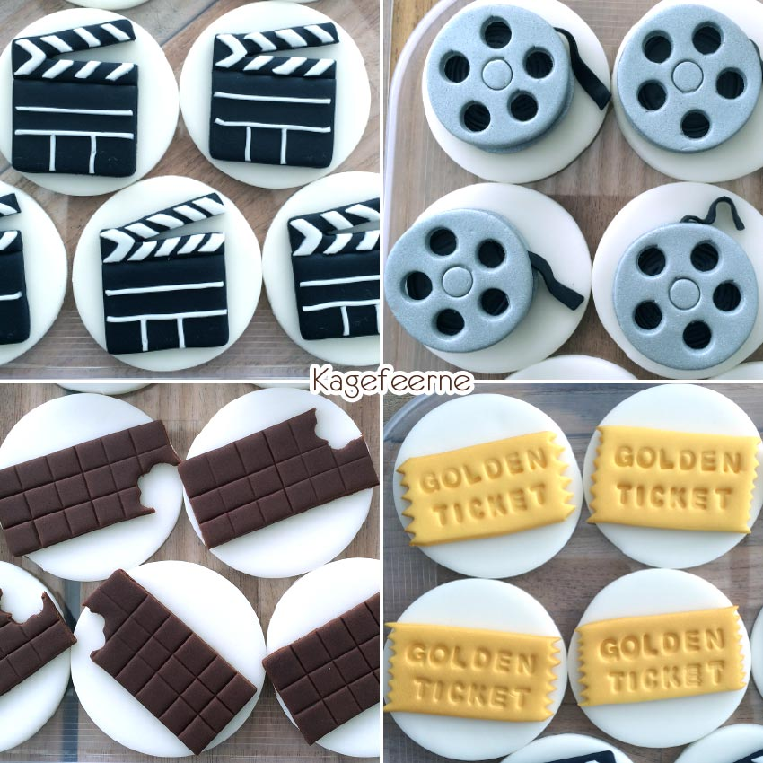 Film tema cupcake toppers af Filmrulle, klaptræ, Chocolate factory cake, Golden ticket